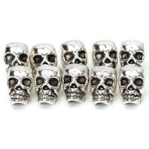 10-PCS-Charms-DIY-Metal-Skull-Head-Antique-Silver-Spacer-Beads-Jewelry-Making