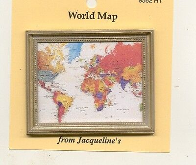 Modern World Map Painting dollhouse miniature 1//12 scale 9562HY Print
