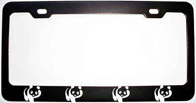 PANDA BEAR PANDAS BLACK Metal License Plate Frame New
