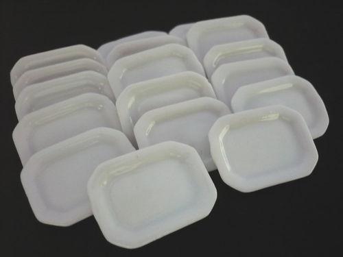 20 White Octagonal Plate Dollhouse Miniatures Ceramic Supply