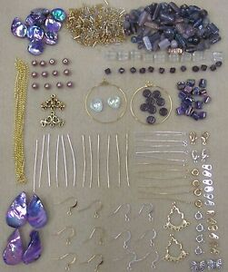 New-Purple-Bead-Kit-with-Silver-amp-Gold-Tone-Findings-amp-Free-Beading-Instructions