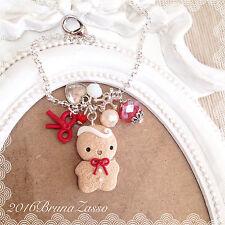 Braccialetto Bracciale Omino Biscotto Natale ~ Cute Bijoux Fimo Polymer Clay Red