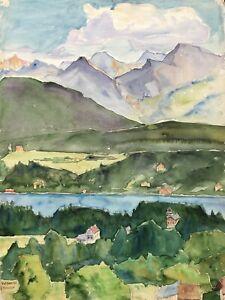 Acquerello-Impressionista-Paesaggio-presso-Velden-Worthersee-Austria-Alpi