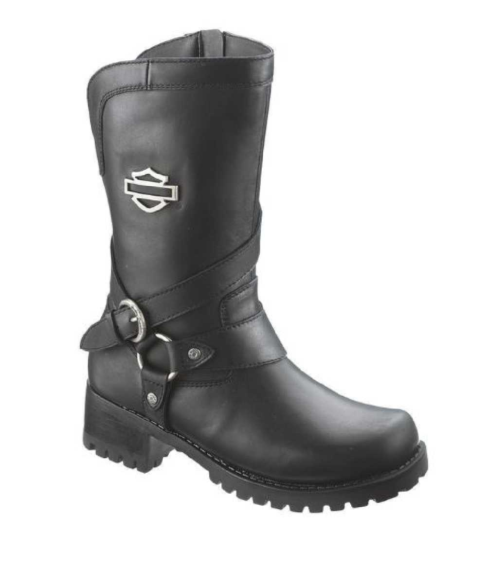 Harley-Davidson Women's Amber Black Leather 9.5-Inch Motorcycle Boots D85514