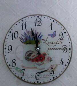Vintage-Wanduhr-Tischuhr-Nostalgie-Uhr-Landhausstil-Kanne-Lavendel-Shabby-chic