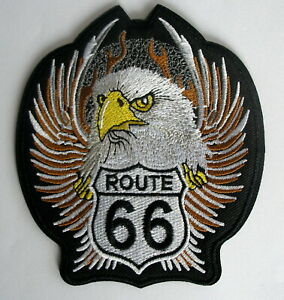 Aufnaeher-Patch-American-Highway-ROUTE-66-USA-Eagle-Wings