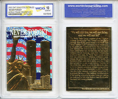 GEM-MINT 10 Lot of 10 WTC World Trade Center 9//11 PATRIOTIC 23KT GOLD CARD