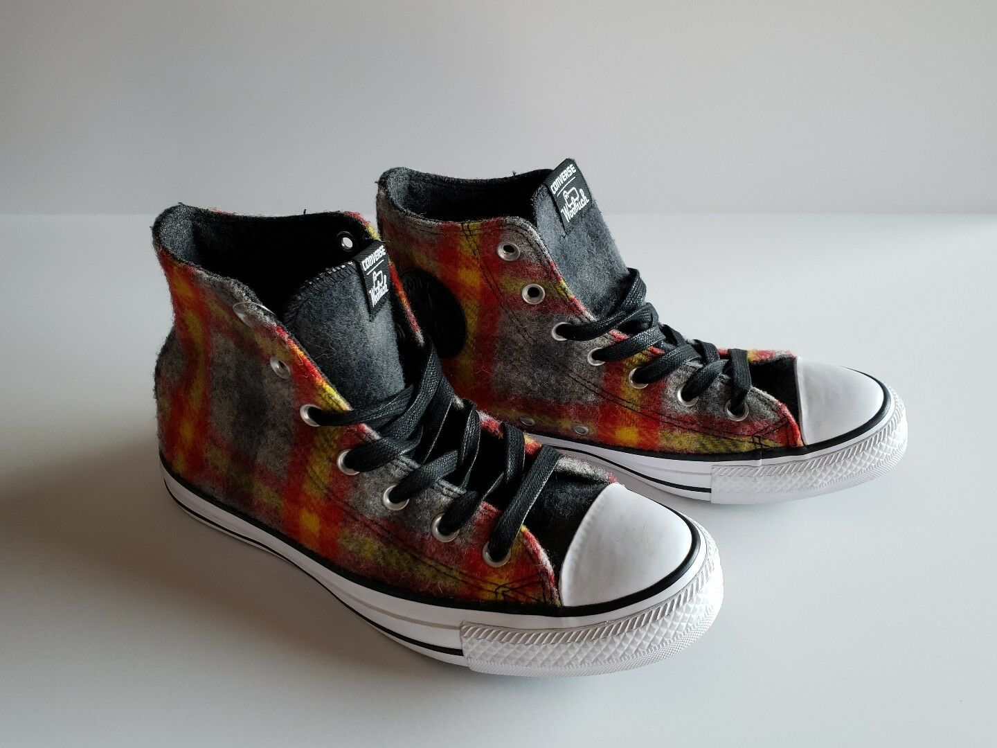 CONVERSE YELLOW CHUCK TAYLOR ALL STAR WOOLRICH 6 GREY RED YELLOW CONVERSE PLAID CT HI 149456C 0145f5