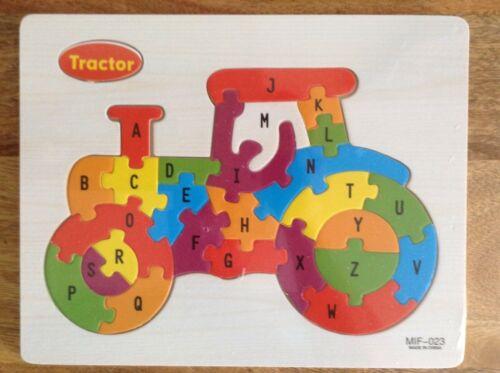 Tractor Design Children/'s Wooden ABC Puzzles