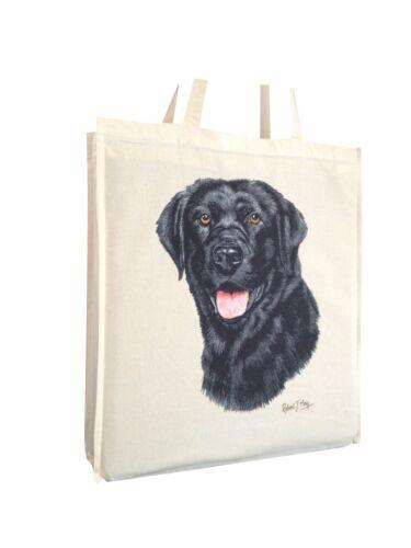 Labrador Black Cotton Shopping Tote Bag Gusset /& Long Handles Perfect Gift