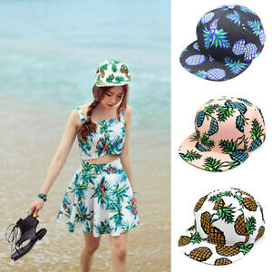 Solid Hip Hop Cap for Unisex Mens Pineapple Flat Baseball Hat
