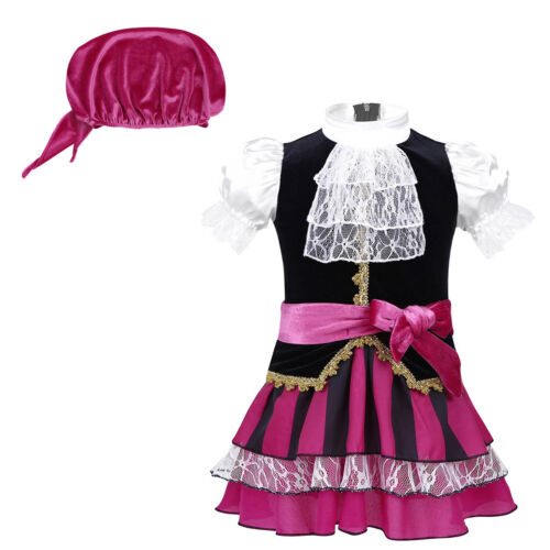 Kids Pirate Costume Toddler Girls Captain Fancy Dress Halloween Cosplay Outfits