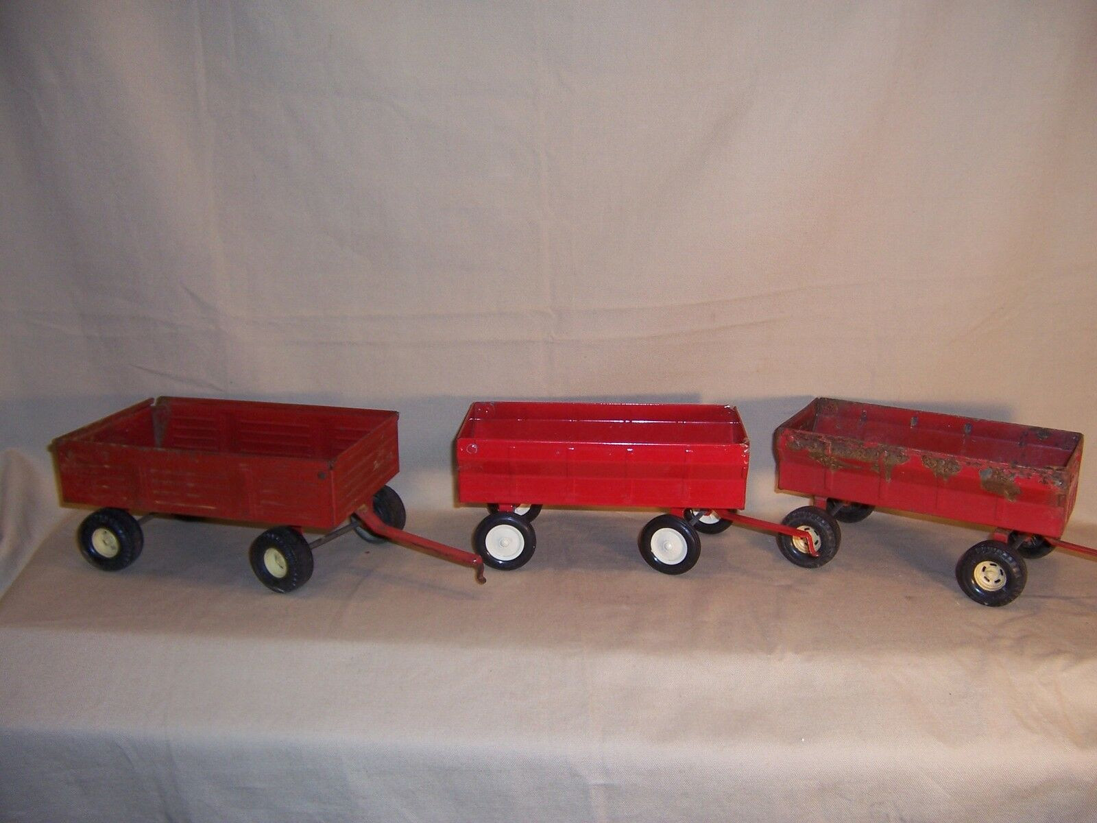 Vintage lot of 3 Toy Trailer ERTL Wagon Farm Harvest Tool Red made in the USA