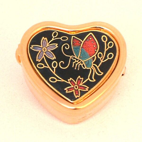 Das Beste Alte Herz Pillendose Cloisonné Ver-gold-et (813.1) Cloisonne Pill Box Gold-color Noch Nicht VulgäR
