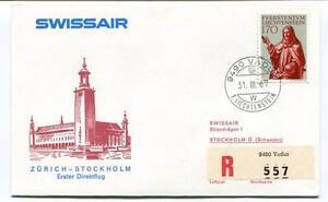 Magasiner Pour Pas Cher Ffc 1967 Swissair First Direct Flight Zurich Stockholm Schweden Registered