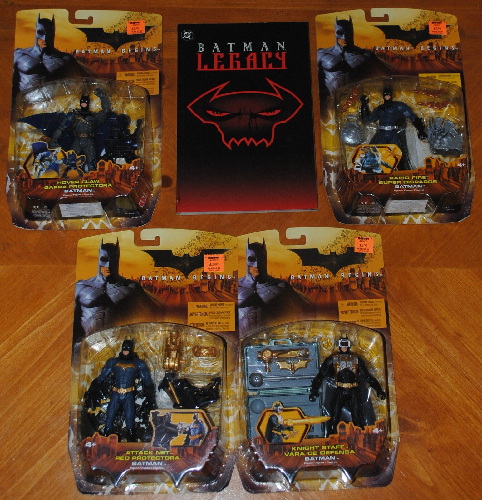 4 BATMAN FIGURES FROM BATMAN BEGINS & VERY RARE BATMAN COMIC BOOK - LEGACY