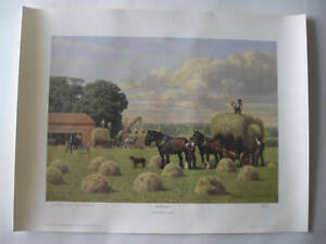 LIMITED-EDITION-FARMING-SHIRE-HORSE-HAY-MAKING-LITHOGRAPH-PRINT