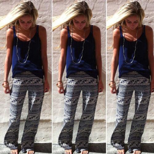 Womens Boho Hippie Wide Leg Palazzo Pants Trousers Summer Baggy Loose Plus Size
