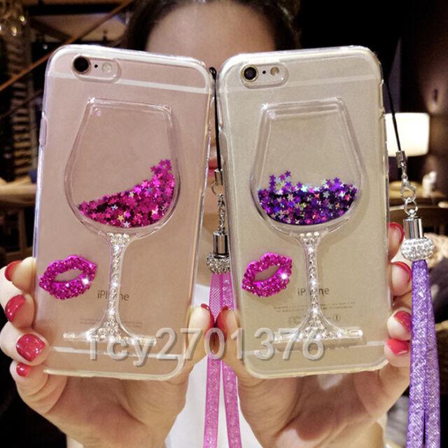Bling Glitter Lip Quicksand goblet Soft Back Phone Dynamic Liquid Case #8