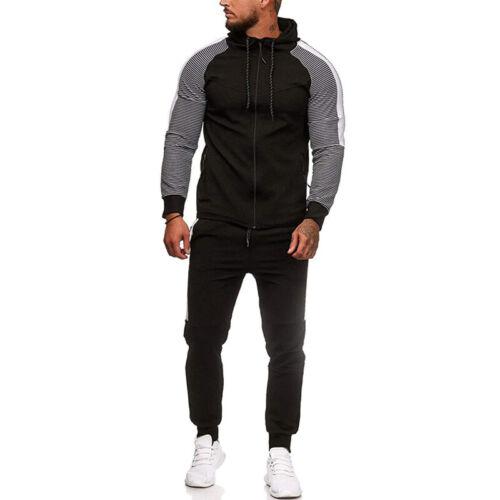 Men Muscle Slim Fit Winter Hoodie Zip Up Coat Jacket Joggers Pants Tracksuit Set