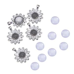 Sun Flower Pendant Blanks Trays Bezel and NBEADS 10 Sets Alloy Pendant Cabochon