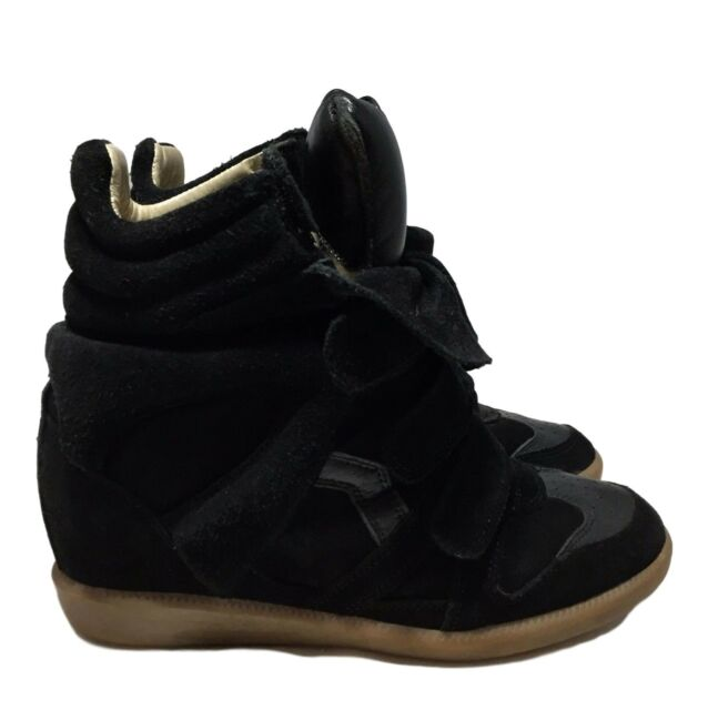 ISABEL MARANT 'BEKETT' BLACK WEDGE SNEAKERS, 39 8, $665