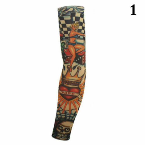Cycling Bike Bicycle Tattoo Arm Warmers Cuff Sleeve HOT Suntection Cover UV T7E3
