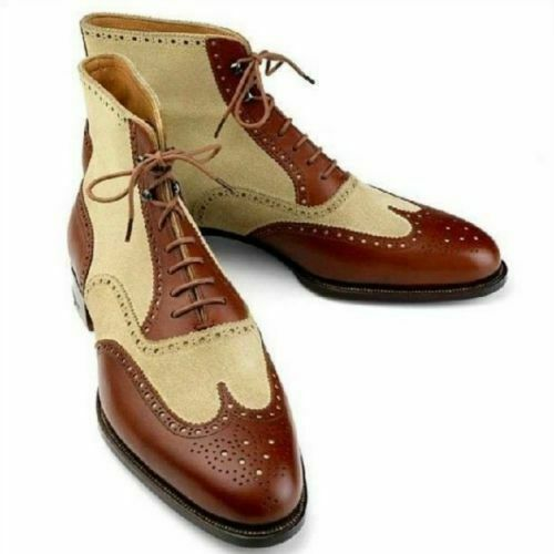 NEW-Handmade Men Wing Tip Ankle High Stiefel Two Tone Leather & Suede Brogue Stiefel