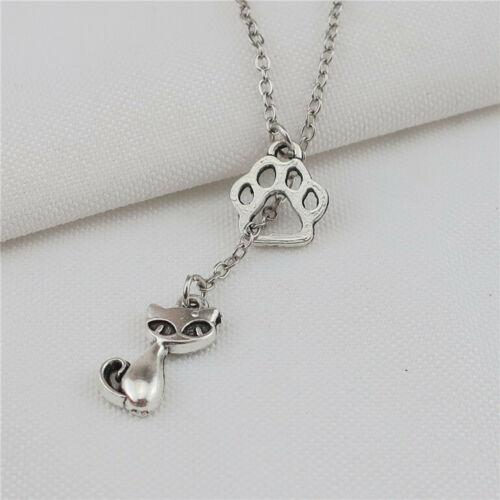 "Vintage Antique Silver Animal Charm Paw Pendant Necklace 18/"""