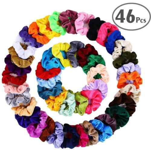 46 pcs Hair Scrunchies Velvet Elastic Bands Bobbles Scrunchy Tie Ropes VSCO Girl