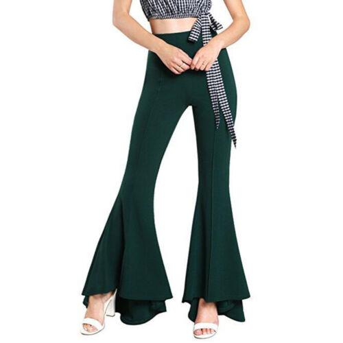 Women Long Solid Flare Pants Ruffle High Waist Bell Bottom Palazzo Trousers