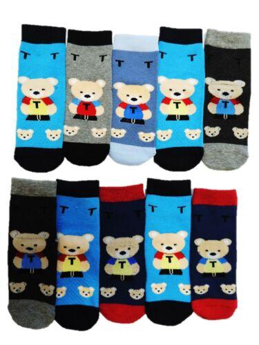 10 Paar Jungen Thermo ABS Socken Anti Rutsch Noppen Größe 18-39 24 25 26 27 28