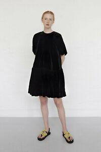 $925 Cecilie Bahnsen NEW Billowy Puff Sleeve Tiered Velvet Dress 6 UK10 Alexa