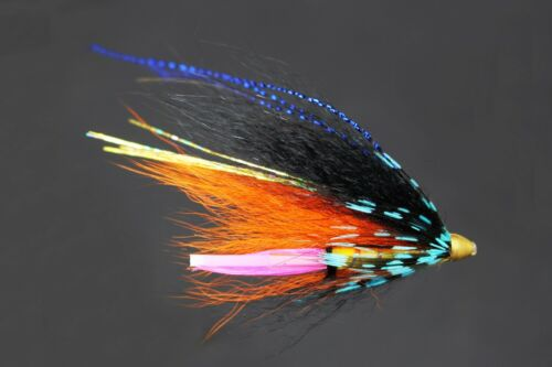 24 pcs Blue/&Black Feather Cone Head Tube Flies Salmon Trout Fly Fishing Lures