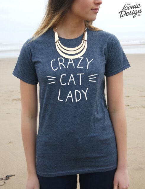 * CRAZY CAT LADY T-shirt Top Fashion Tumblr Funny Gift Christmas Slogan Lover *