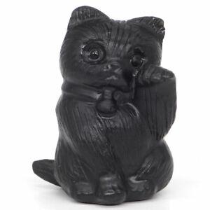 "Dragon Figurine Black Obsidian Carved Gemstone Animal Statue Stone Decor 4,8/"""