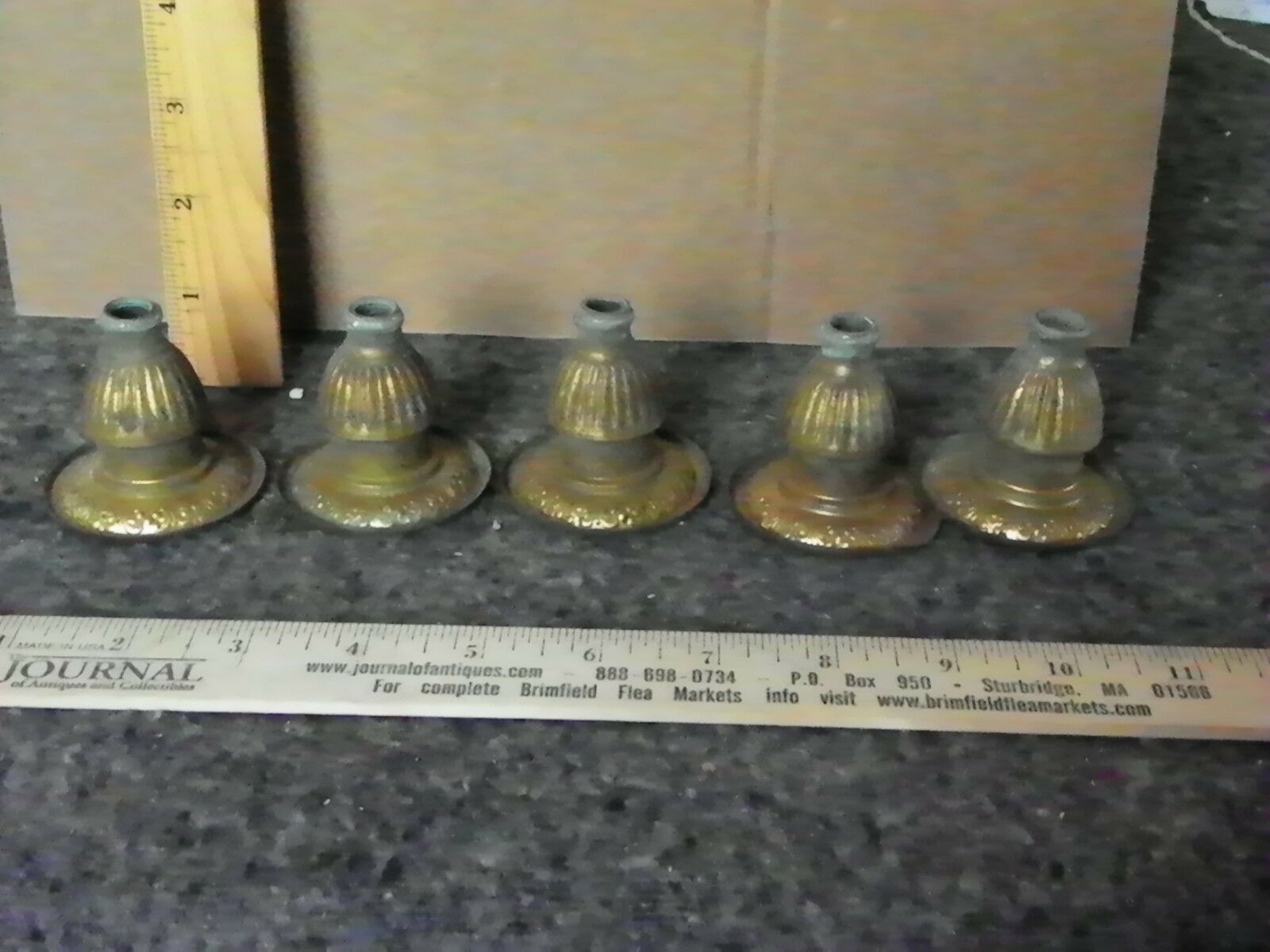 5 ANTIQUE STAMPED BRASS RIBBED CANDLE CUPS W  DECORATIVE EDGE (3009)