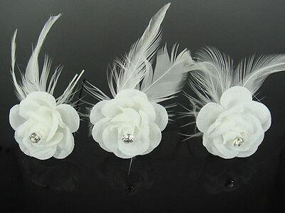 12Pcs Wedding Bridal White Feather Flower Crystal Hair Pins Hair Accessory H82