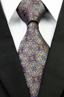 BNT0279 Brown Yellow Pattern Classic JACQUARD Woven Silk Necktie Men's Tie