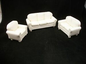Details about Living Room Set T6631 Cream Faux Leather Sofa miniature  dollhouse furniture 3pc