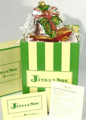 "JingleNog Our First Christmas Red-Green Glass Ornament 4.5""H Poland NIB"