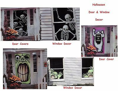 Halloween Door Cover Scary Blood Scene Setters Wall Decoration Trick or Treat