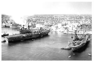 Postcard-Royal-Navy-HMS-Centaur-amp-HMS-Eagle-Aircraft-Carriers-in-Malta-1955-59