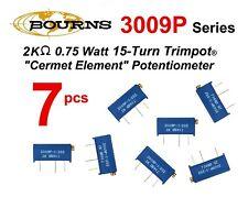 7 Pcs Bourns 3009p 1 202 2k 075w Cermet Trimpot Potentiometer Nos Usa Ship