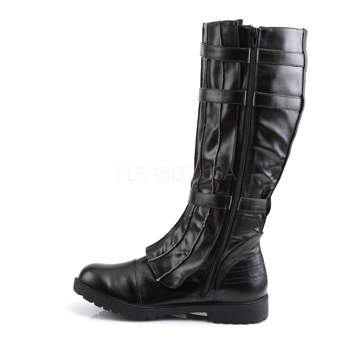 Funtasma Matte nero Walker Hero Strap Strap Strap Knee stivali Cosplay Goth Uomo 8-14 d096ca