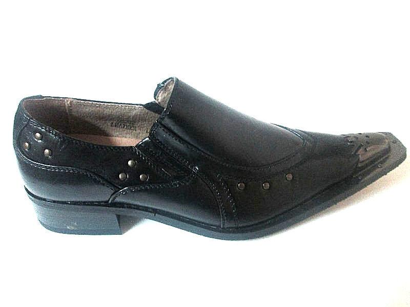promozioni Majestic nero slip-On Loafer Uomo Dress scarpe Pointy-Toe Steel Tip Tip Tip 95202 RARE  varie dimensioni