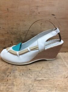 New Womens Syrena White Leather Wedge