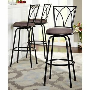 Awe Inspiring Details About Bar Stool Stools 3 Pc Set Swivel Chair Chairs Pub Breakfast Counter Padded Seat Theyellowbook Wood Chair Design Ideas Theyellowbookinfo