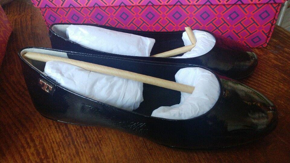 Nueva con caja Tory Burch Minnie viaje Ballet Ballet Ballet Planas, patente Sz 5 Negro Auténtico 9cde1b