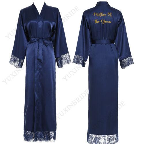 Long Bride Kimono Silk Robe Satin Dress Wedding Robe Bathrobe Lace Ladies Gowns
